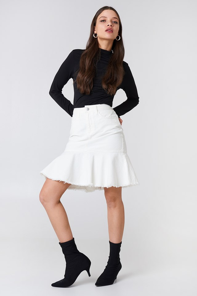 Raw Frill Hem Denim Skirt NA-KD