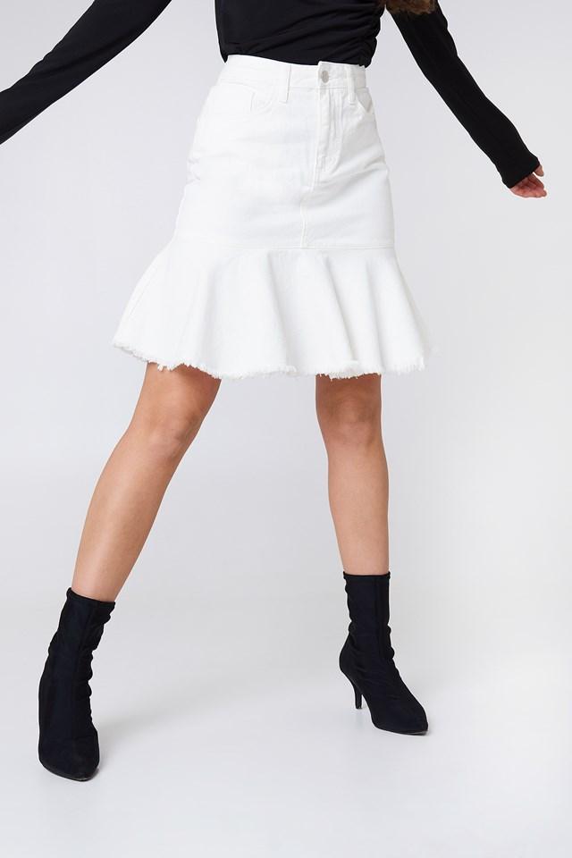 Raw Frill Hem Denim Skirt White