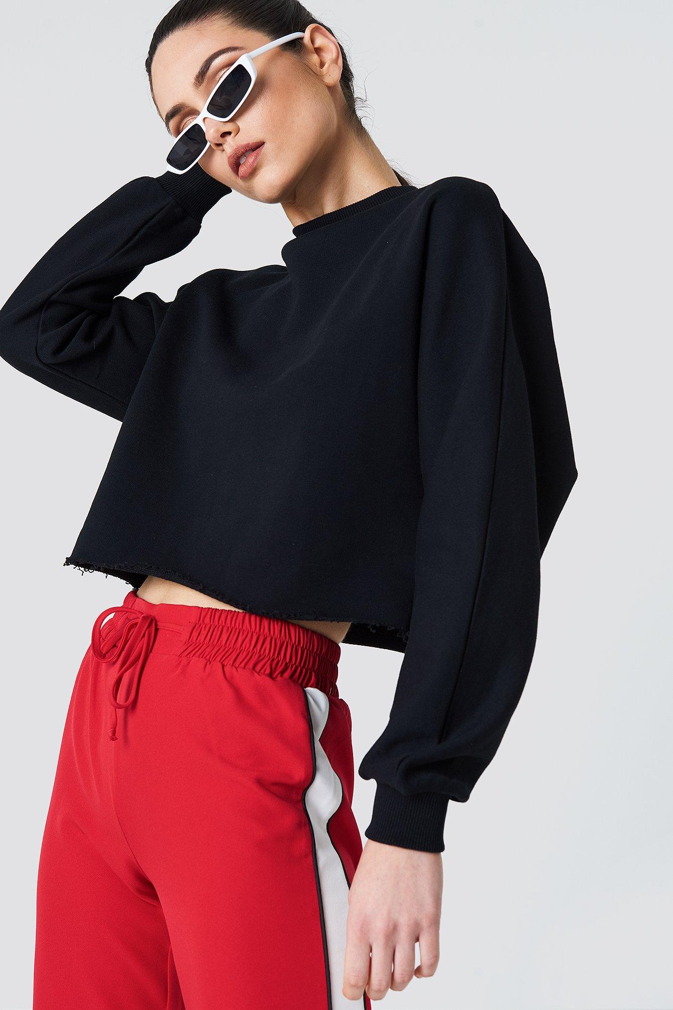 na-kd -  Raw Hem Batwing Sweatshirt - Black