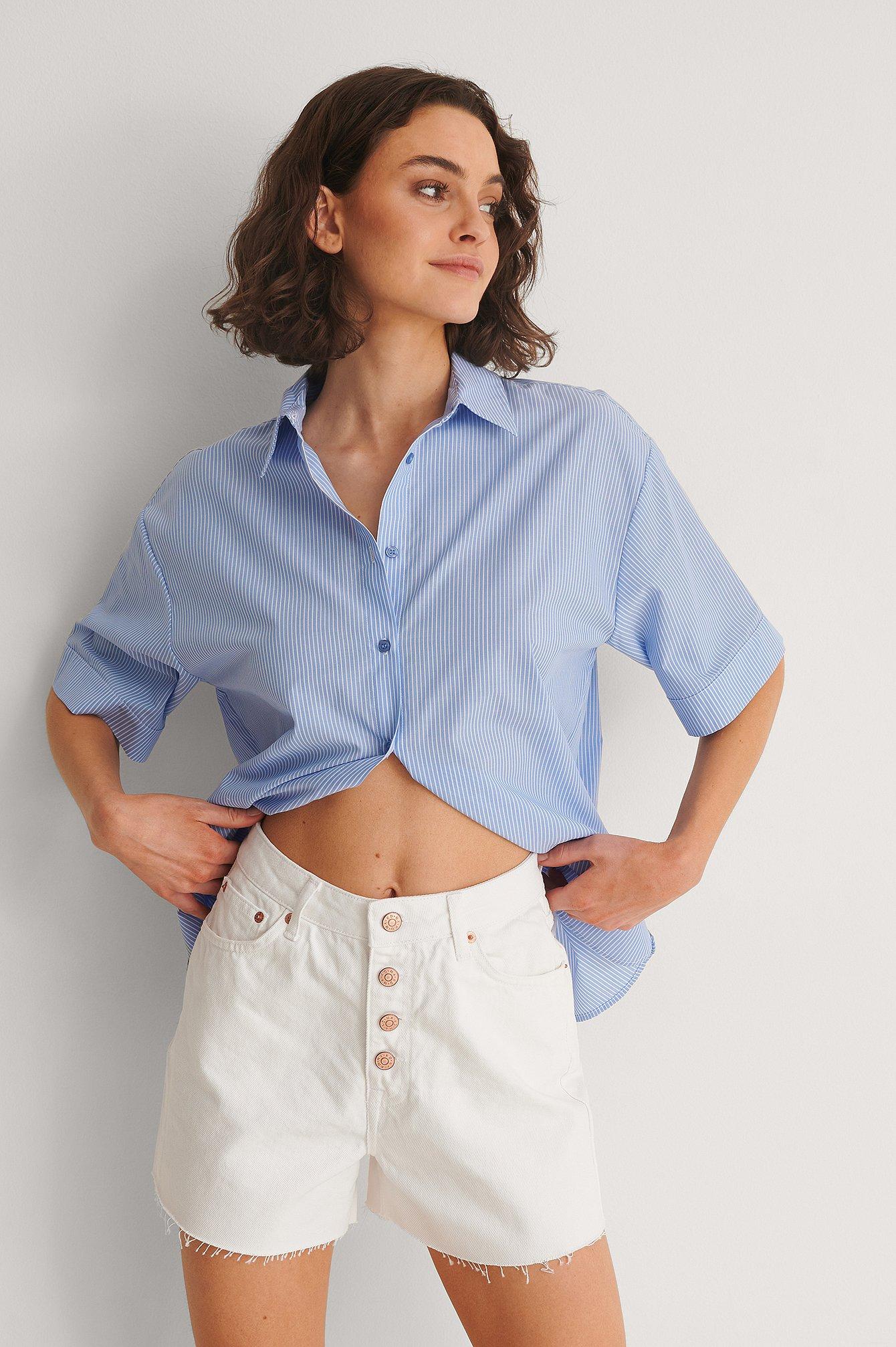 Na-kd Organic Raw Hem Buttoned Denim Shorts - White