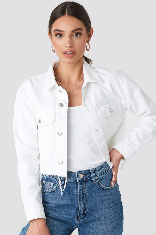 Raw Hem Denim Jacket White