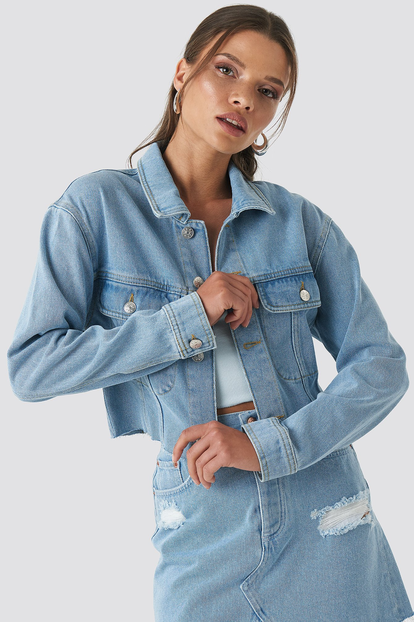 Raw Hem Denim Jacket Bleu by Na Kd