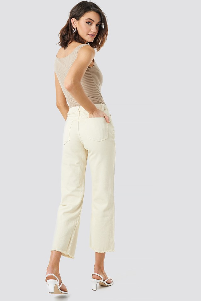 Raw Hem Denim Pants Beige