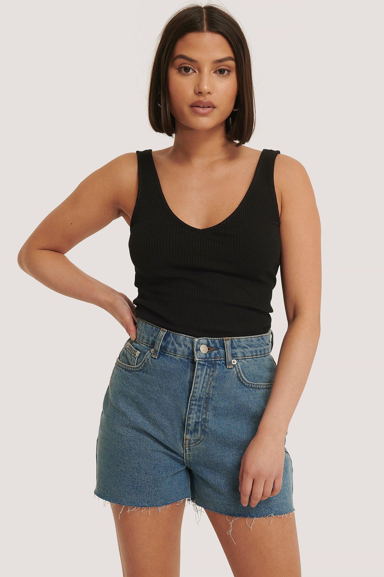 na-kd -  Jeans-Shorts Grober Saum - Blue