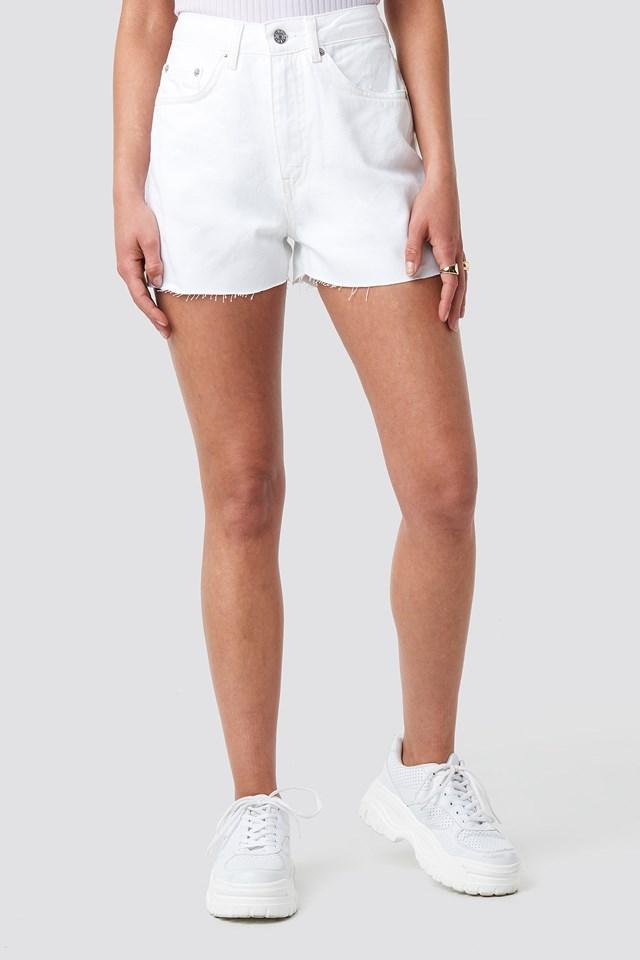 Raw Hem High Waist Denim Shorts White