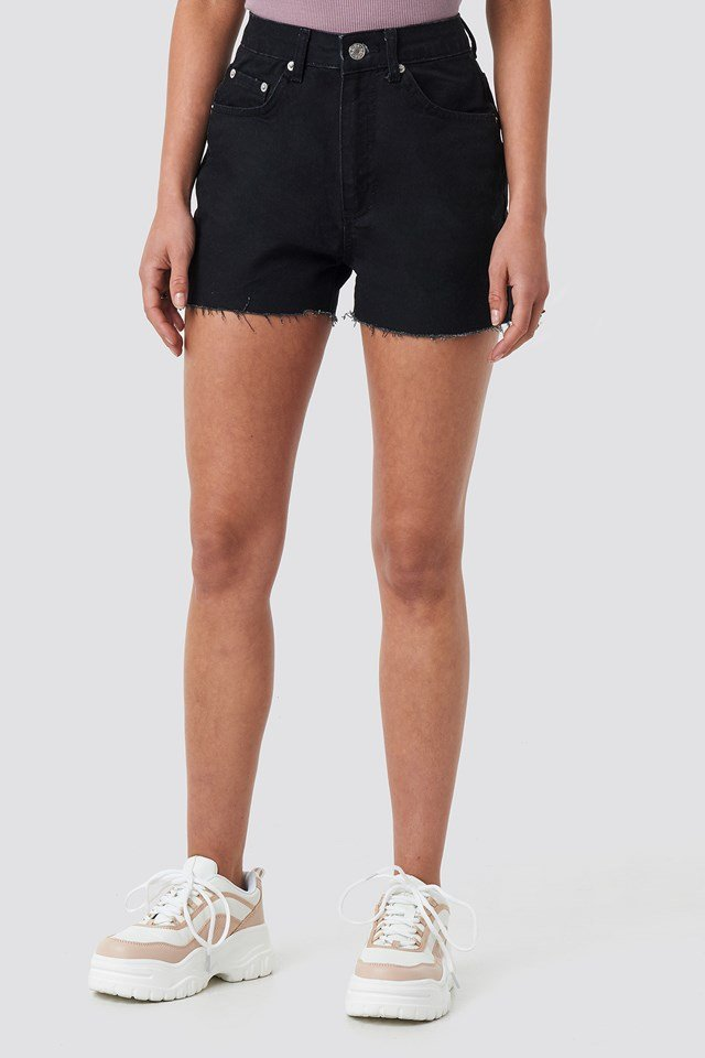 Raw Hem High Waist Denim Shorts Black