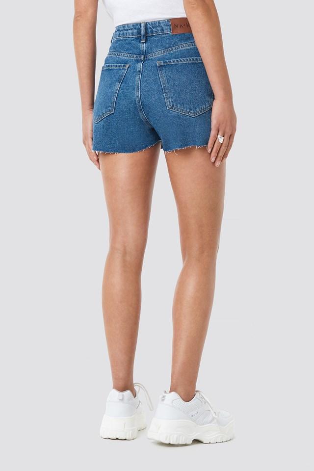 Raw Hem High Waist Denim Shorts Mid Blue