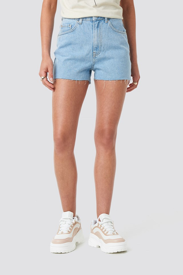 Raw Hem High Waist Denim Shorts Light Blue