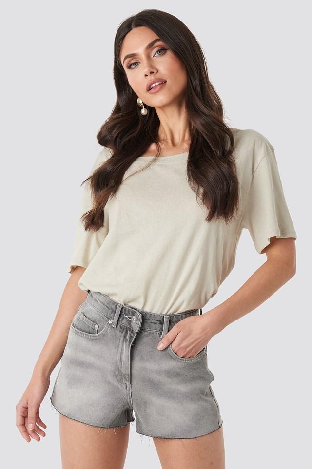 Raw Hem High Waist Shorts Light Grey