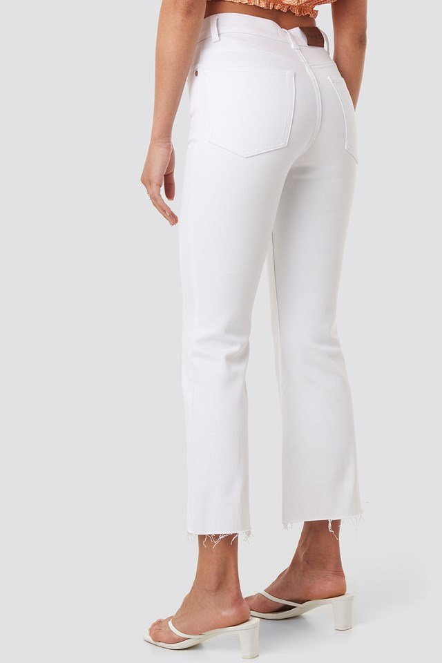 Raw Hem Kick Flare Jeans White