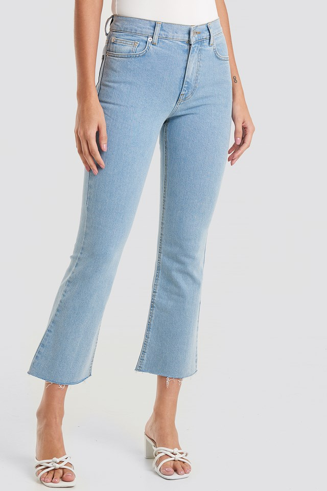 Raw Hem Kick Flare Jeans Light Blue