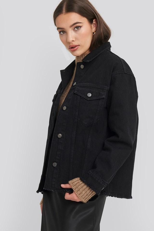 Raw Hem Long Denim Jacket Black