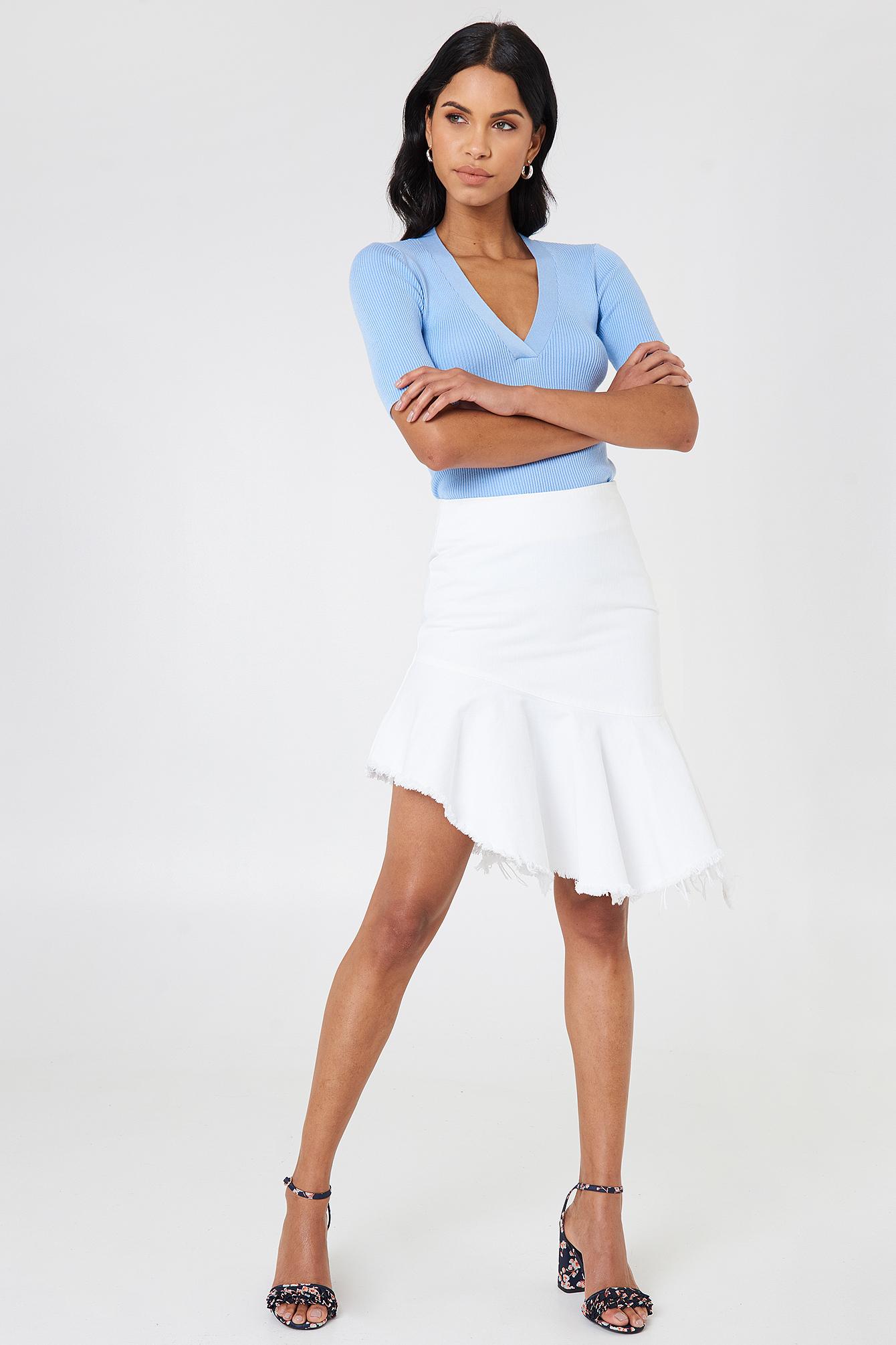 na-kd -  Raw Hem Midi Denim Skirt - White