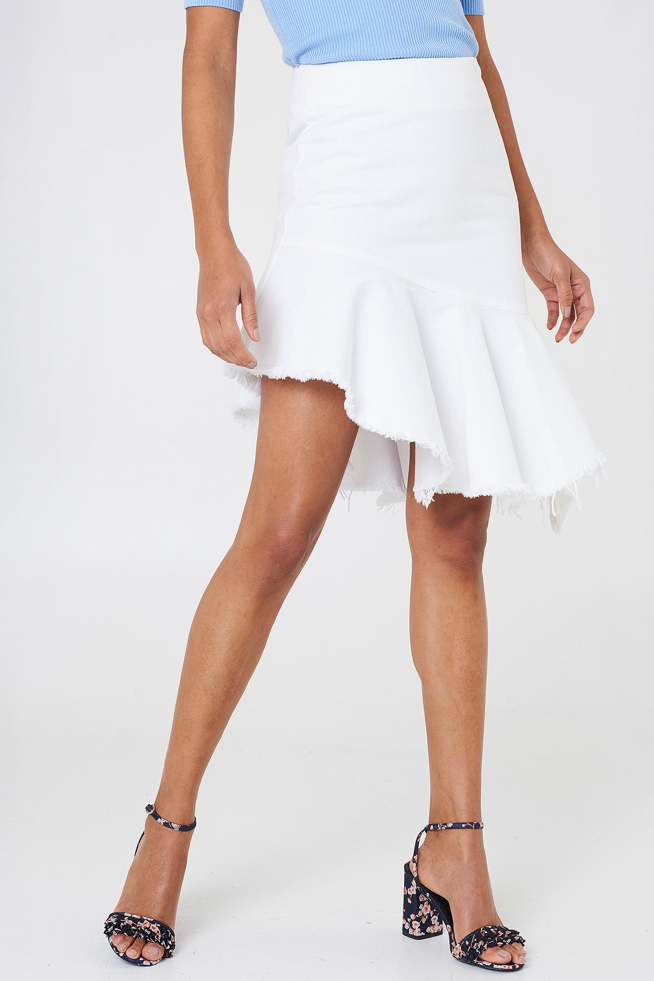 Véritable Vente NA-KD Raw Hem Midi Denim Skirt Date De Sortie Du Jeu XnsENEkd
