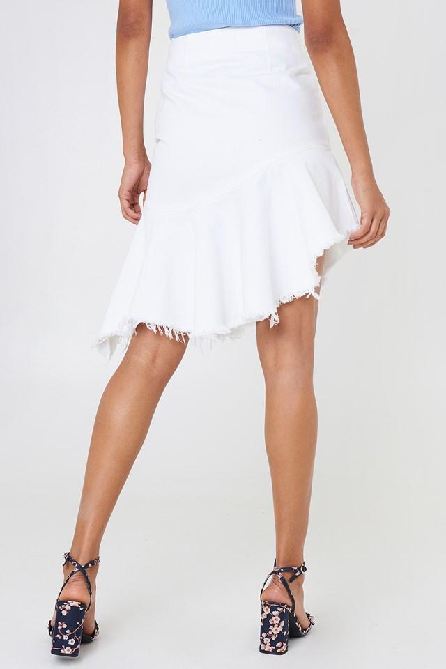 Spódnica dżinsowa z surowym brzegiem White