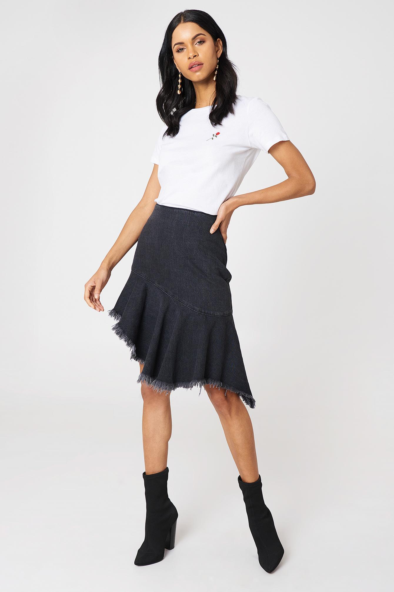 na-kd -  Raw Hem Midi Denim Skirt - Black