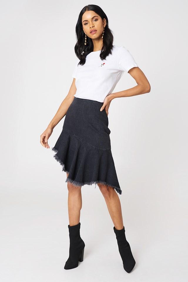 Spódnica dżinsowa z surowym brzegiem Black