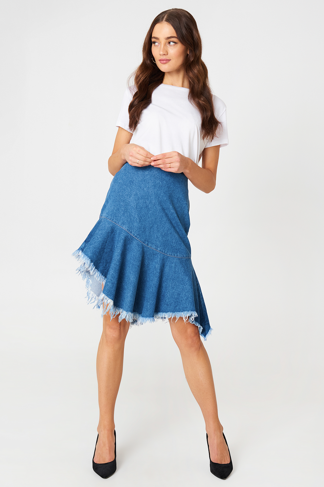 Raw Hem Midi Denim Skirt NA-KD.COM