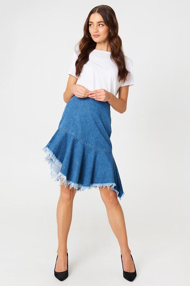 Raw Hem Midi Denim Skirt Mid Blue