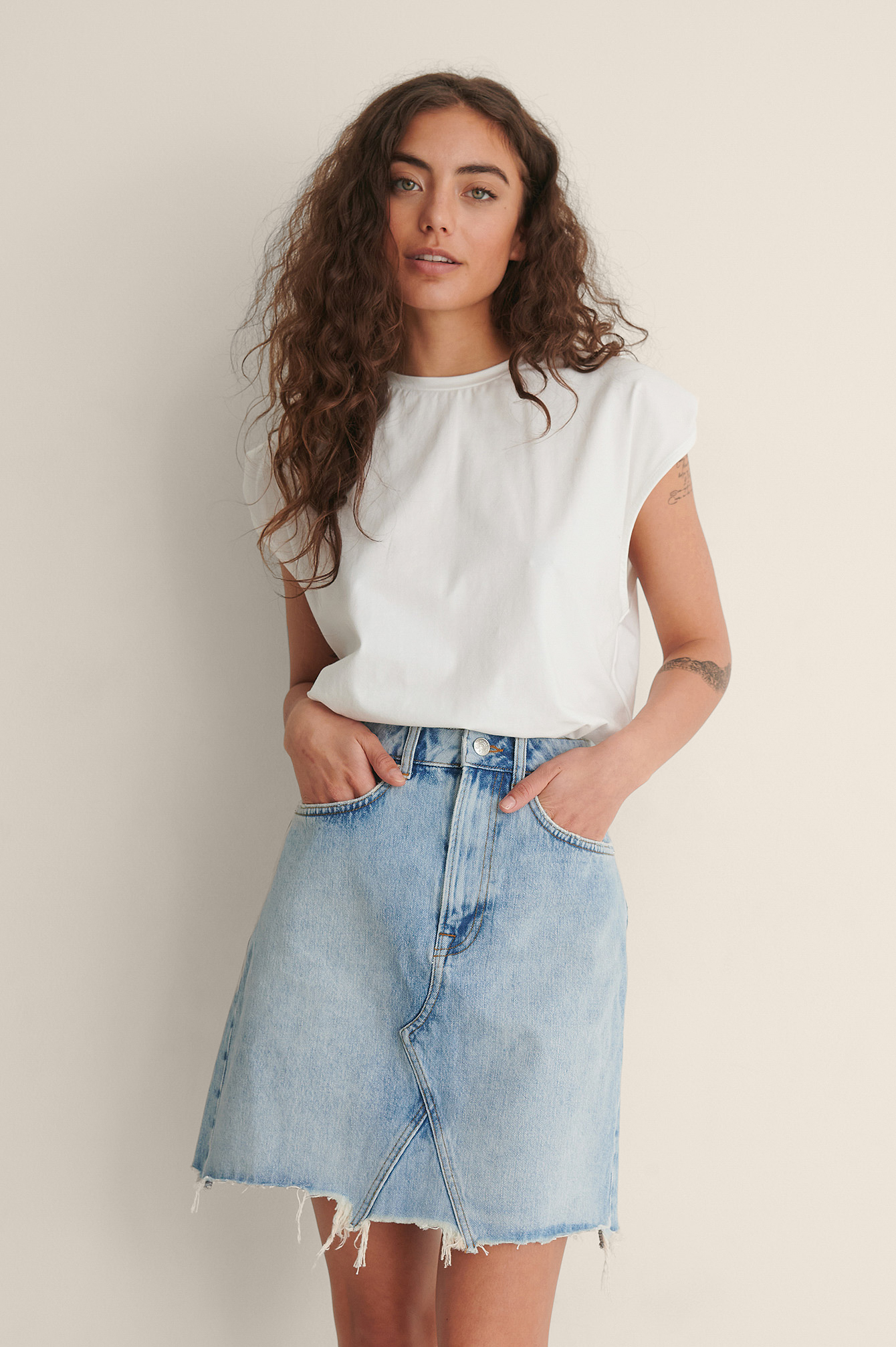 Light Blue Raw Hem Mini Denim Skirt