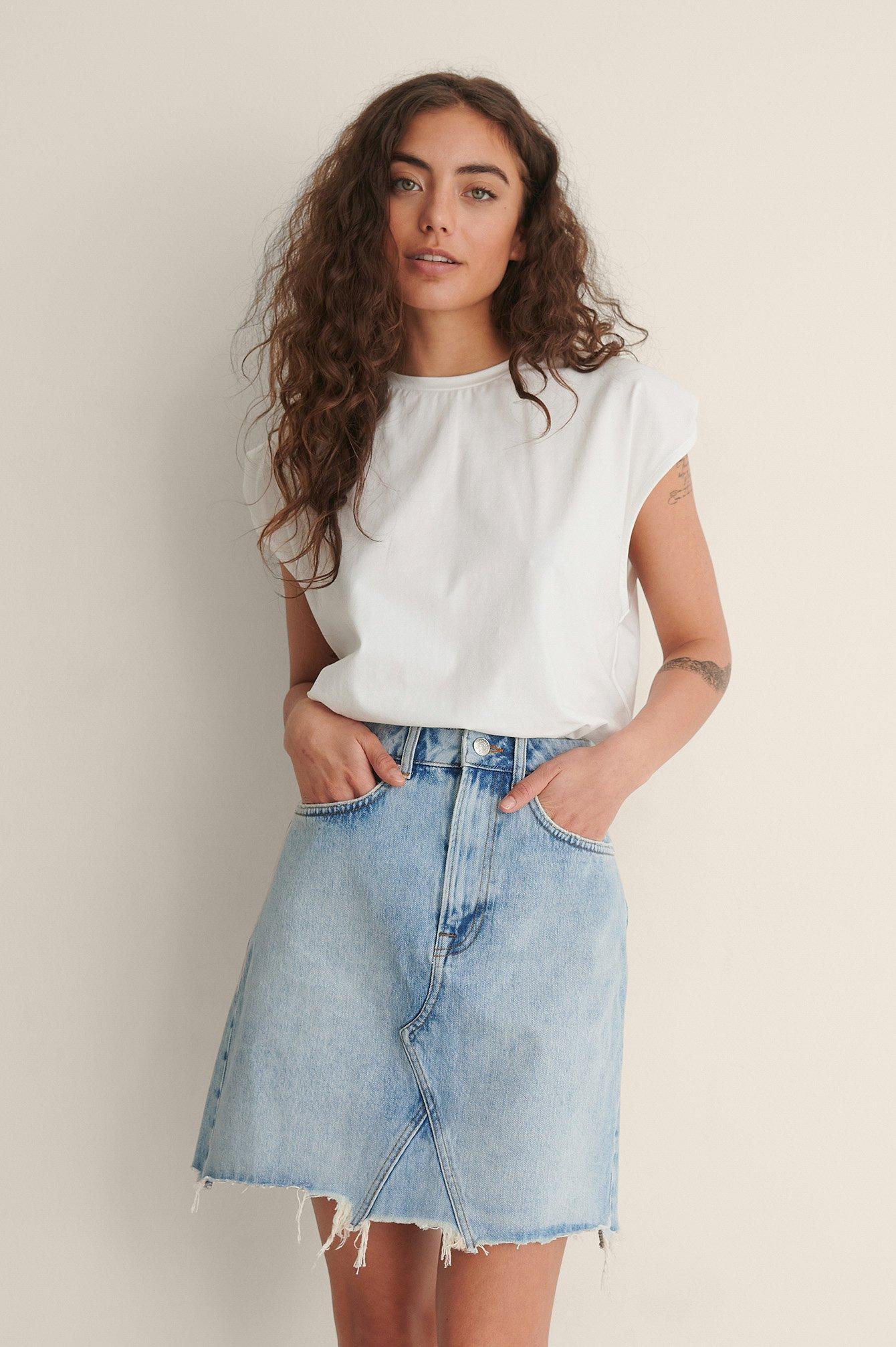 na-kd trend -  Mini-Jeansrock Mit Grobem Saum - Blue