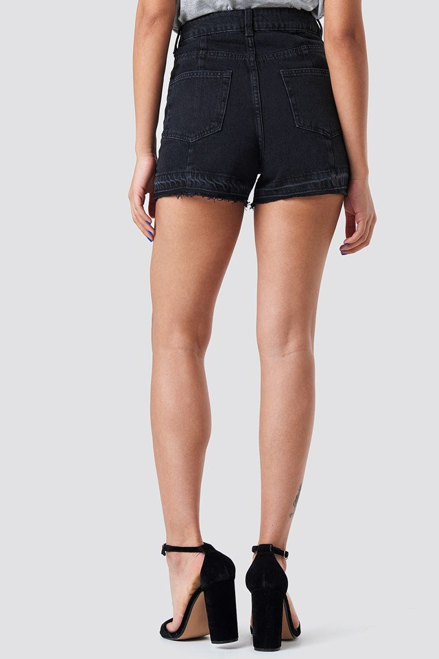 Raw Hem Panel Shorts Black