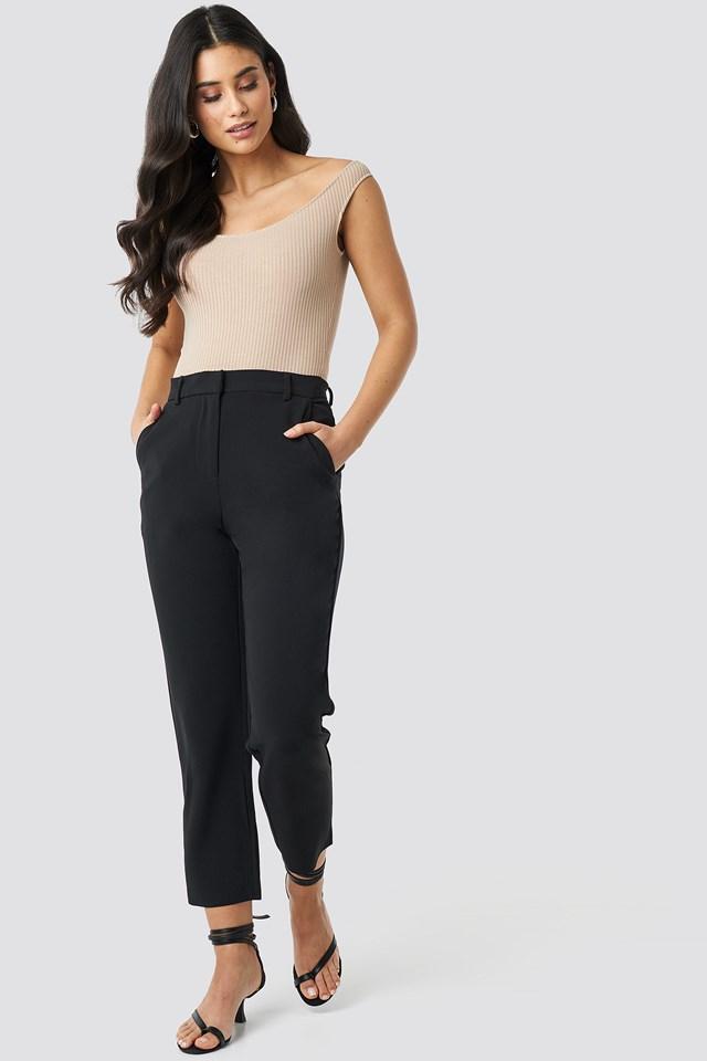 Raw Hem Pants Black