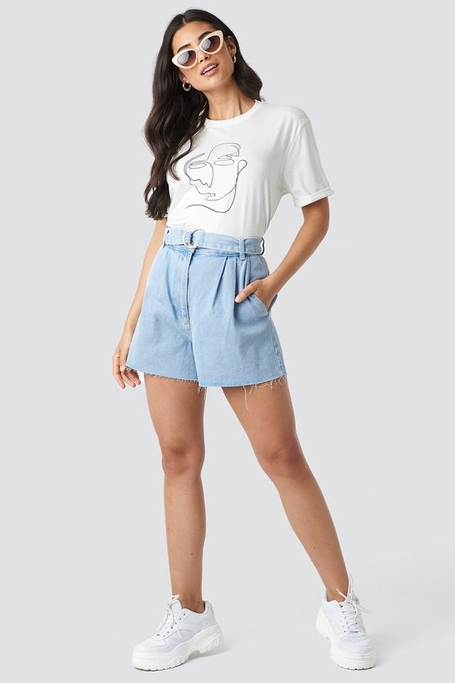 Raw Hem Paperbag Waist Denim Shorts Light Blue