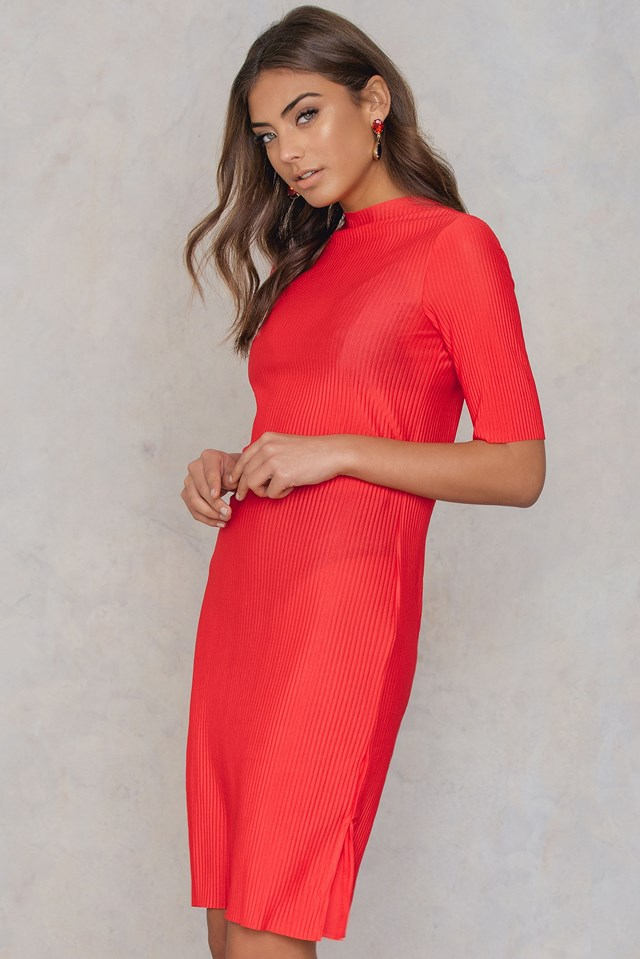 Raw Hem Pleated Dress Red