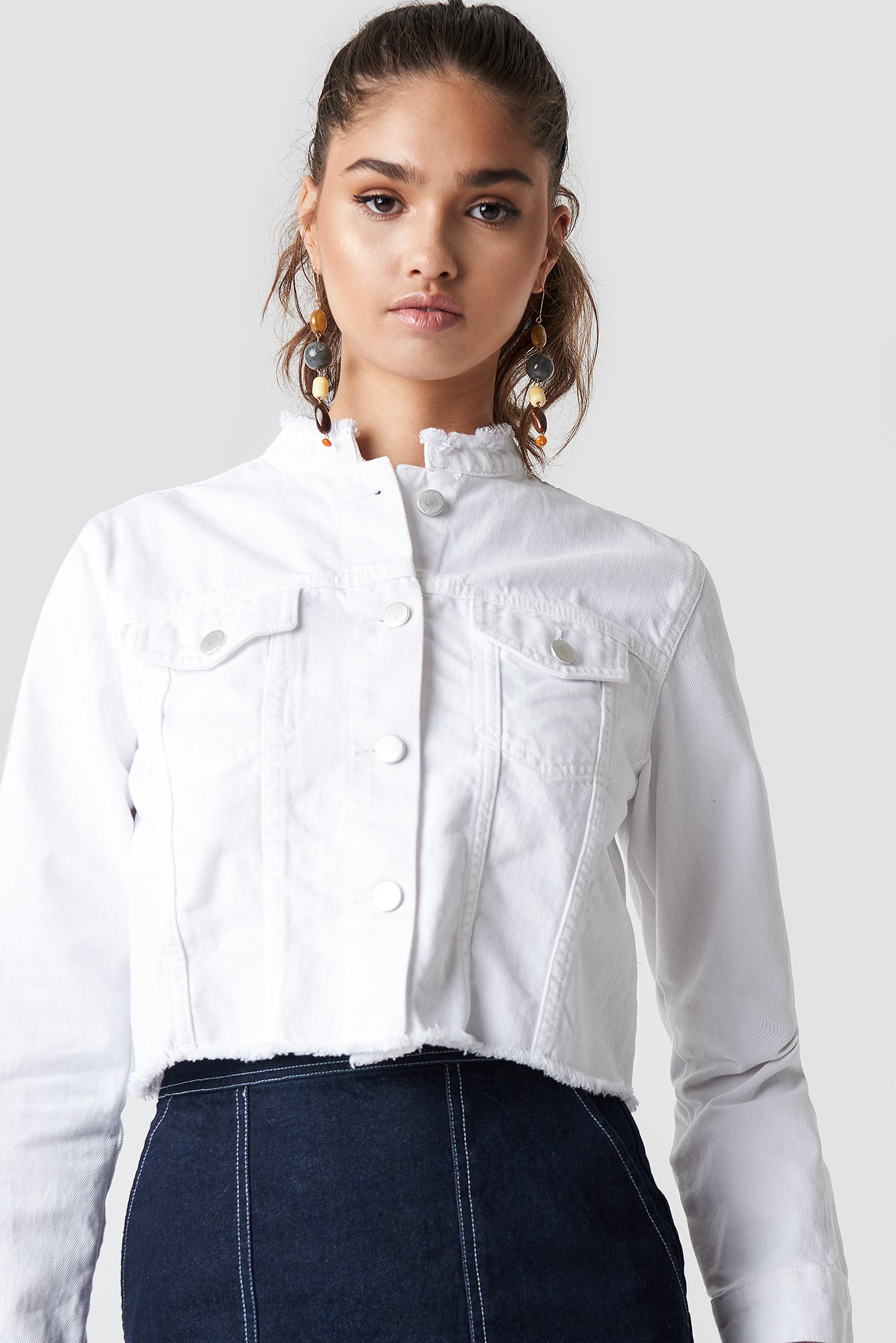 Raw Hem Short Denim Jacket NA-KD.COM