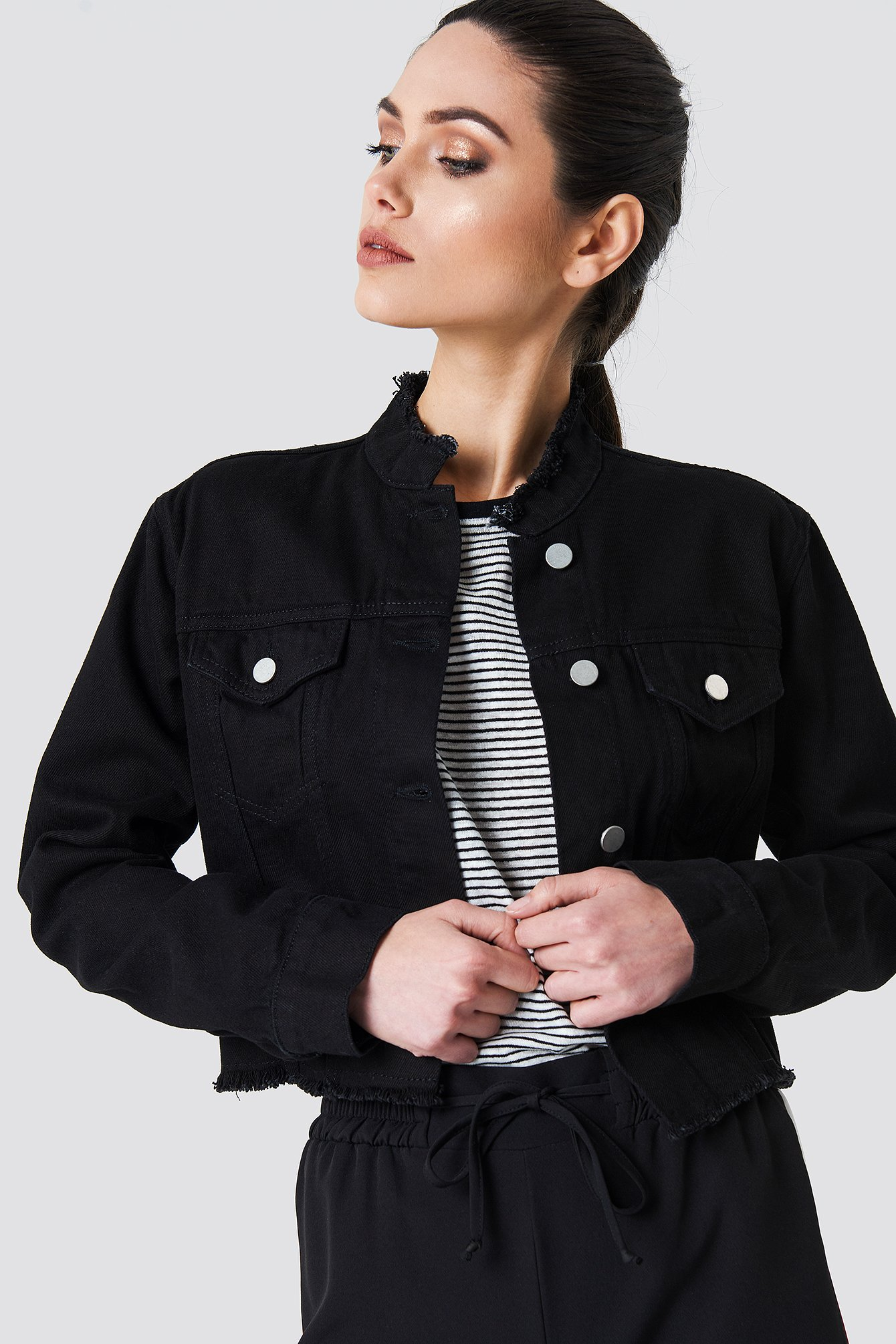 Raw Hem Short Denim Jacket Röd | na