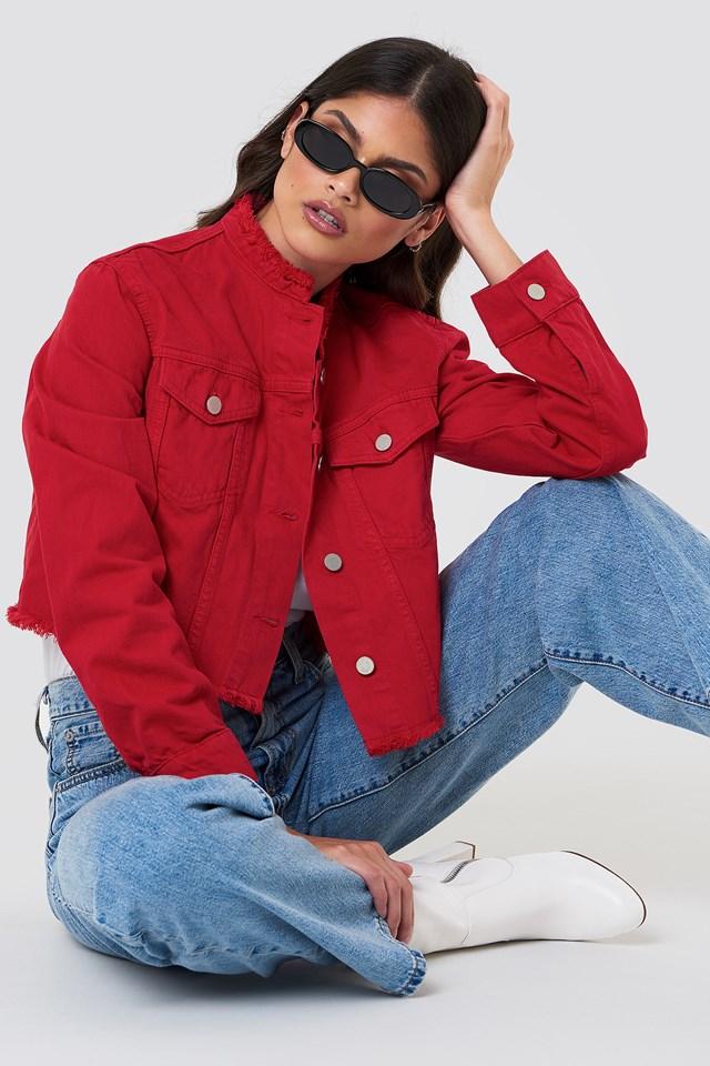 Raw Hem Short Denim Jacket Red