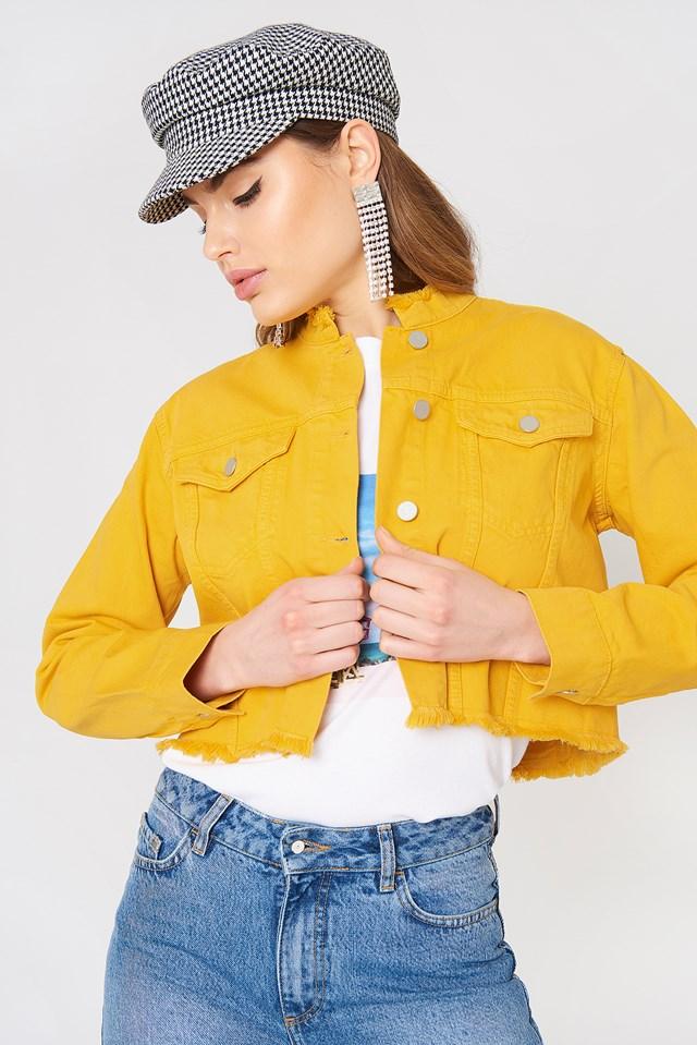 Raw Hem Short Denim Jacket Yellow