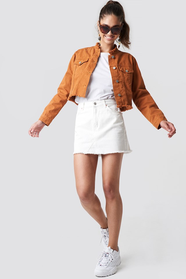Raw Hem Short Denim Jacket Rust
