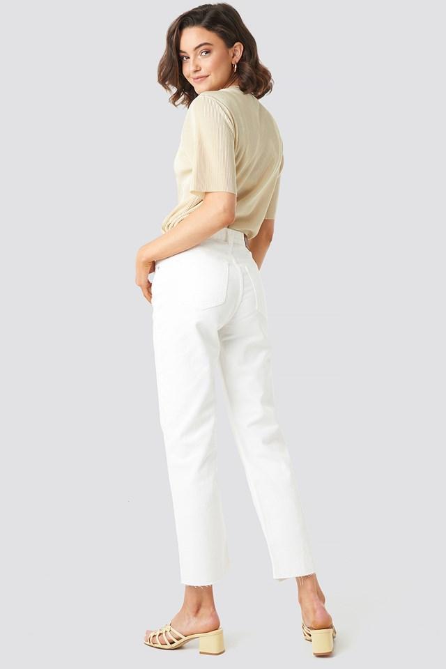 Raw Hem Straight Jeans Offwhite