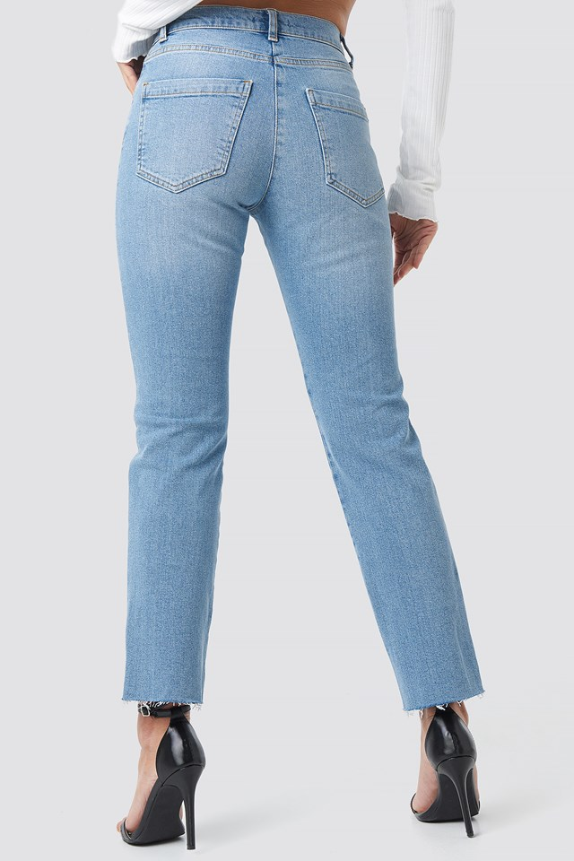Raw Hem Straight Leg Jeans Light Blue