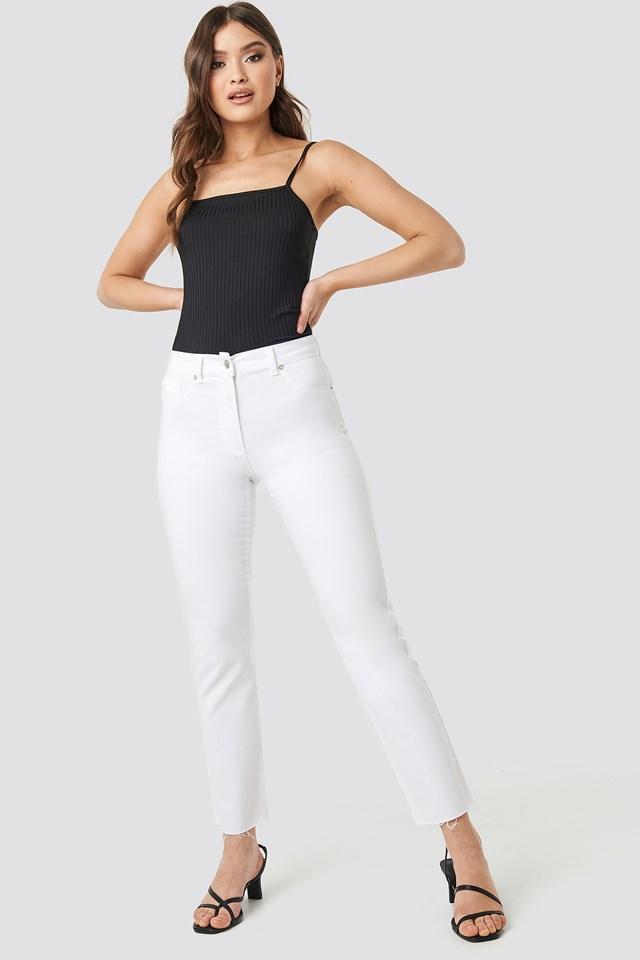 Raw Hem Straight Leg Jeans White