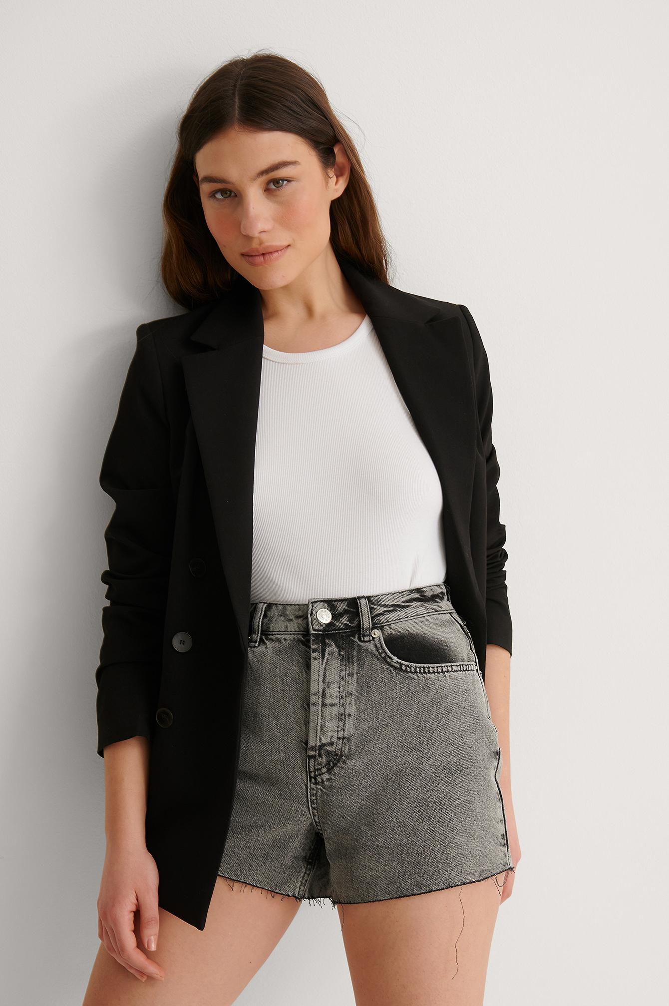 NA-KD Trend Denimshort Med Rå Hem I Vintage Look - Grey