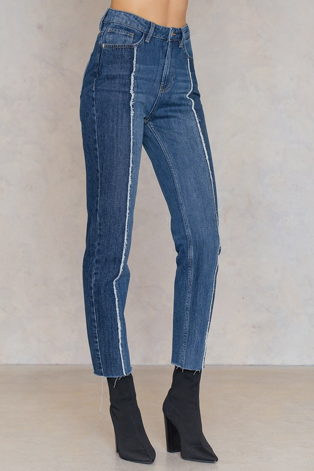 Raw Panel Jeans Mid Blue