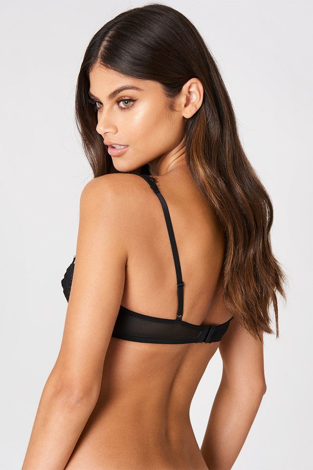 Be My Valentine Lace Bra Black