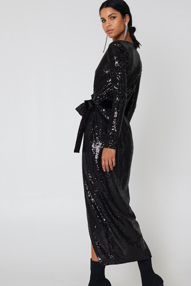 Overlap Sequin Dress Black