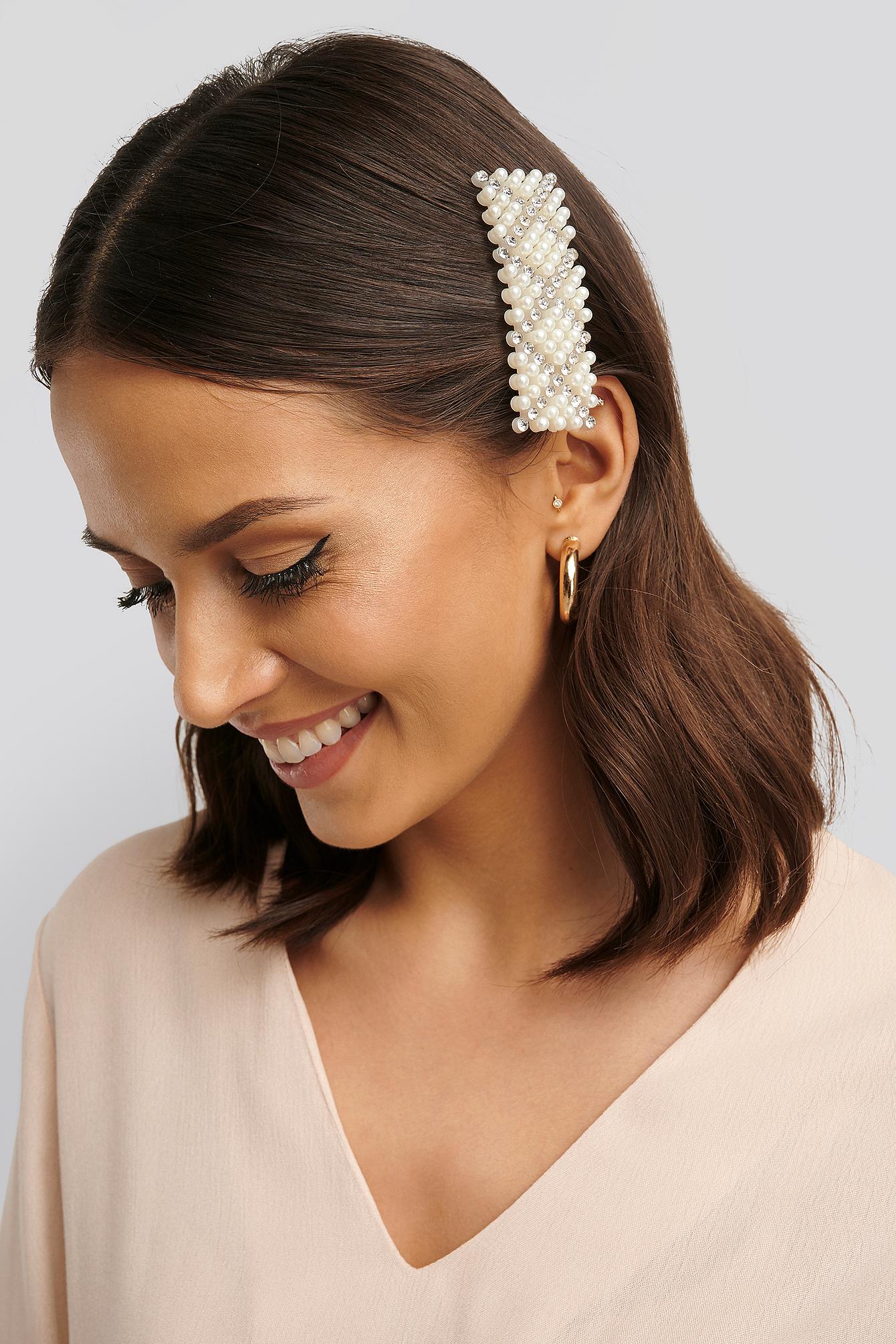 na-kd accessories -  Eckige Haarspange Mit Perlen Und Strasssteinen - White