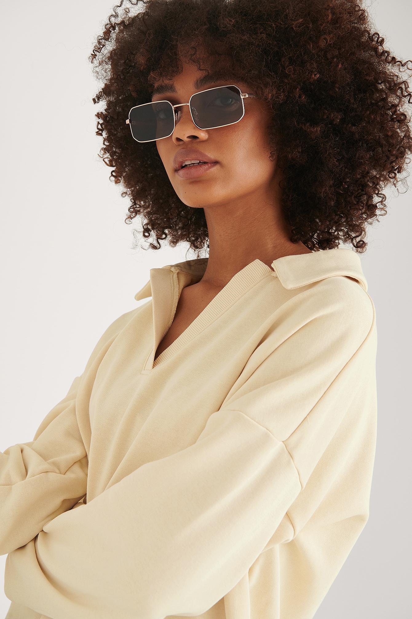 na-kd accessories -  Rechteckige Metall-Sonnenbrille - Gold
