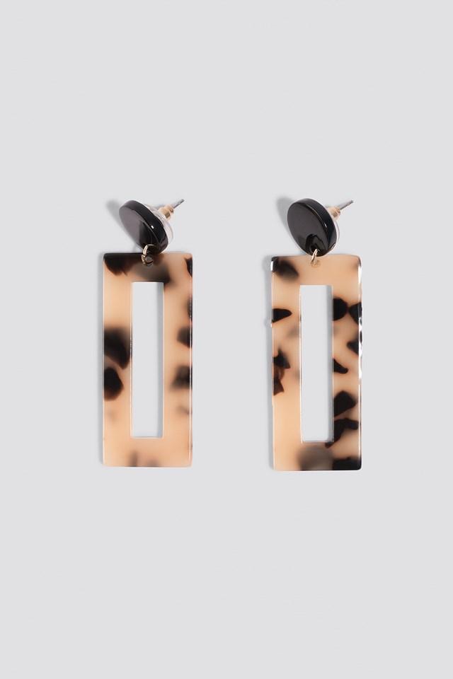 Rectangular Resin Look Earrings Black/White
