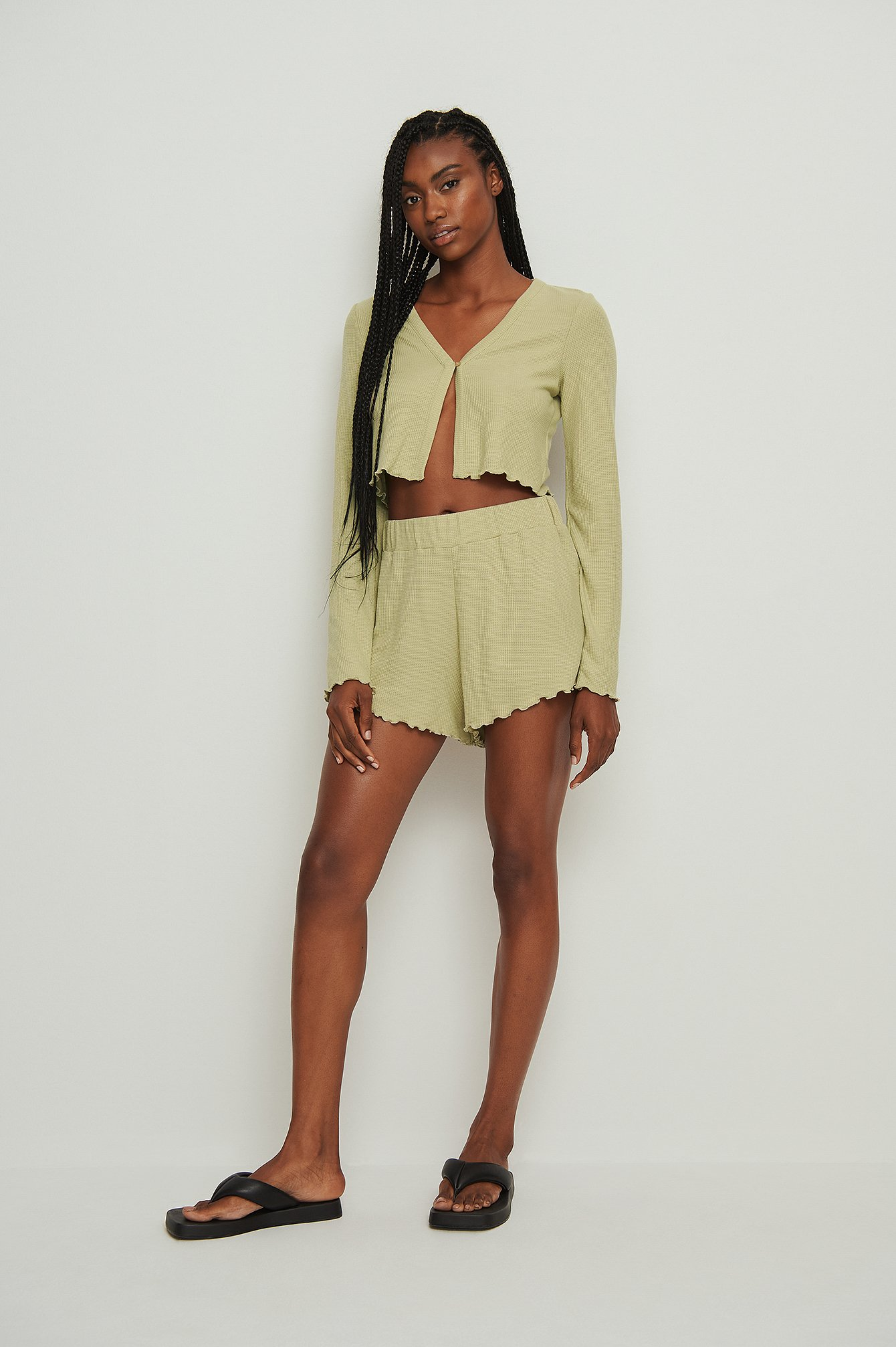 na-kd lingerie -  Recycled Babylock Waffle Loungewear Shorts - Green