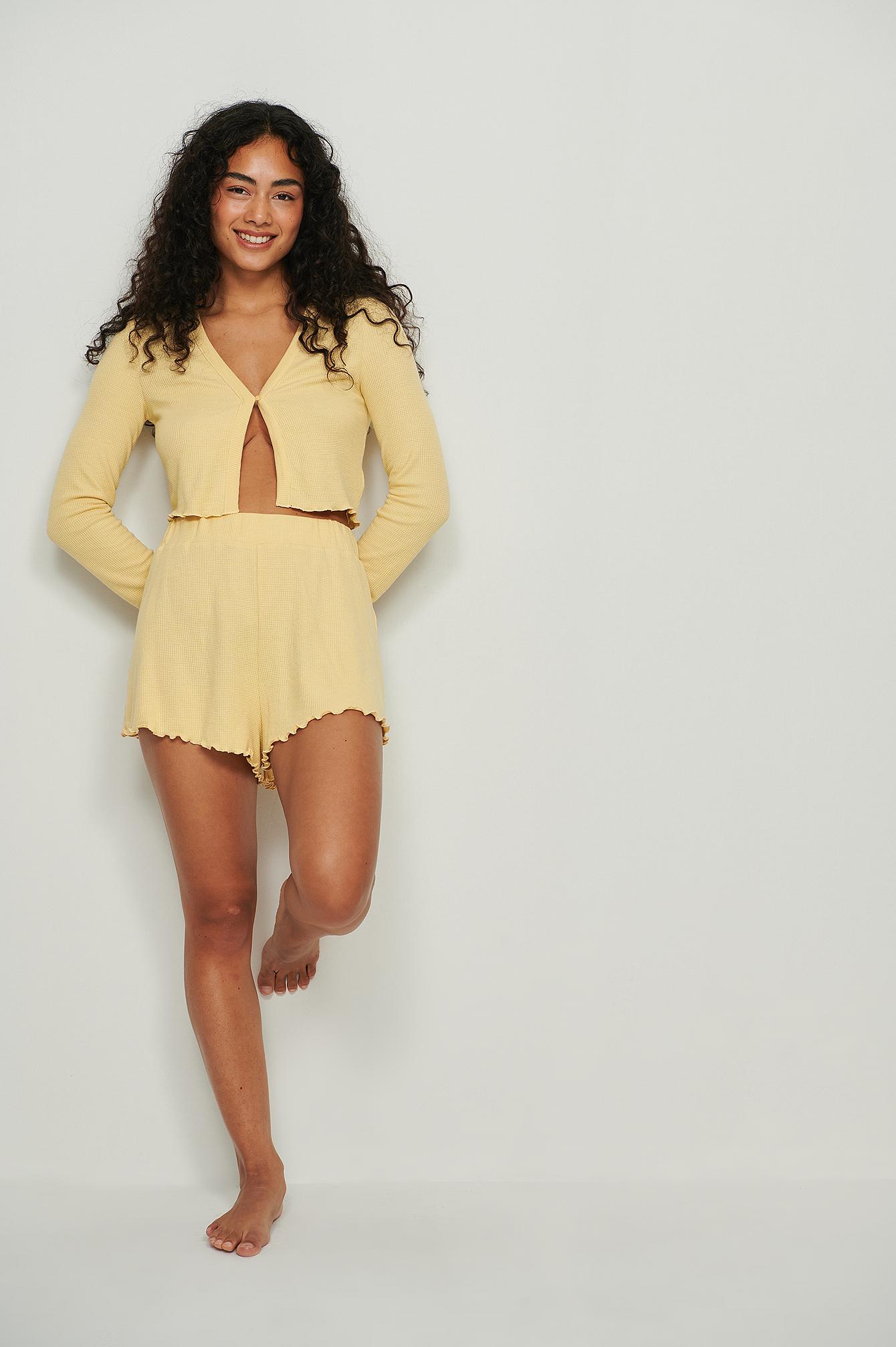 na-kd lingerie -  Recycled Babylock Waffle Loungewear Shorts - Yellow