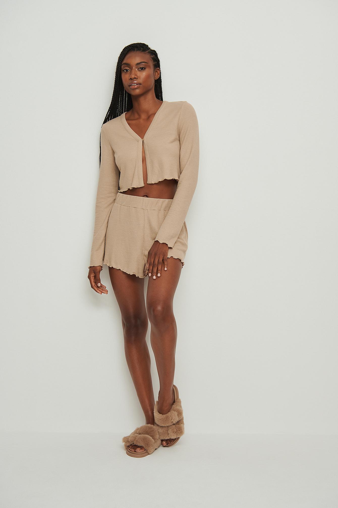 na-kd lingerie -  Recycled Babylock Waffle Loungewear Shorts - Beige