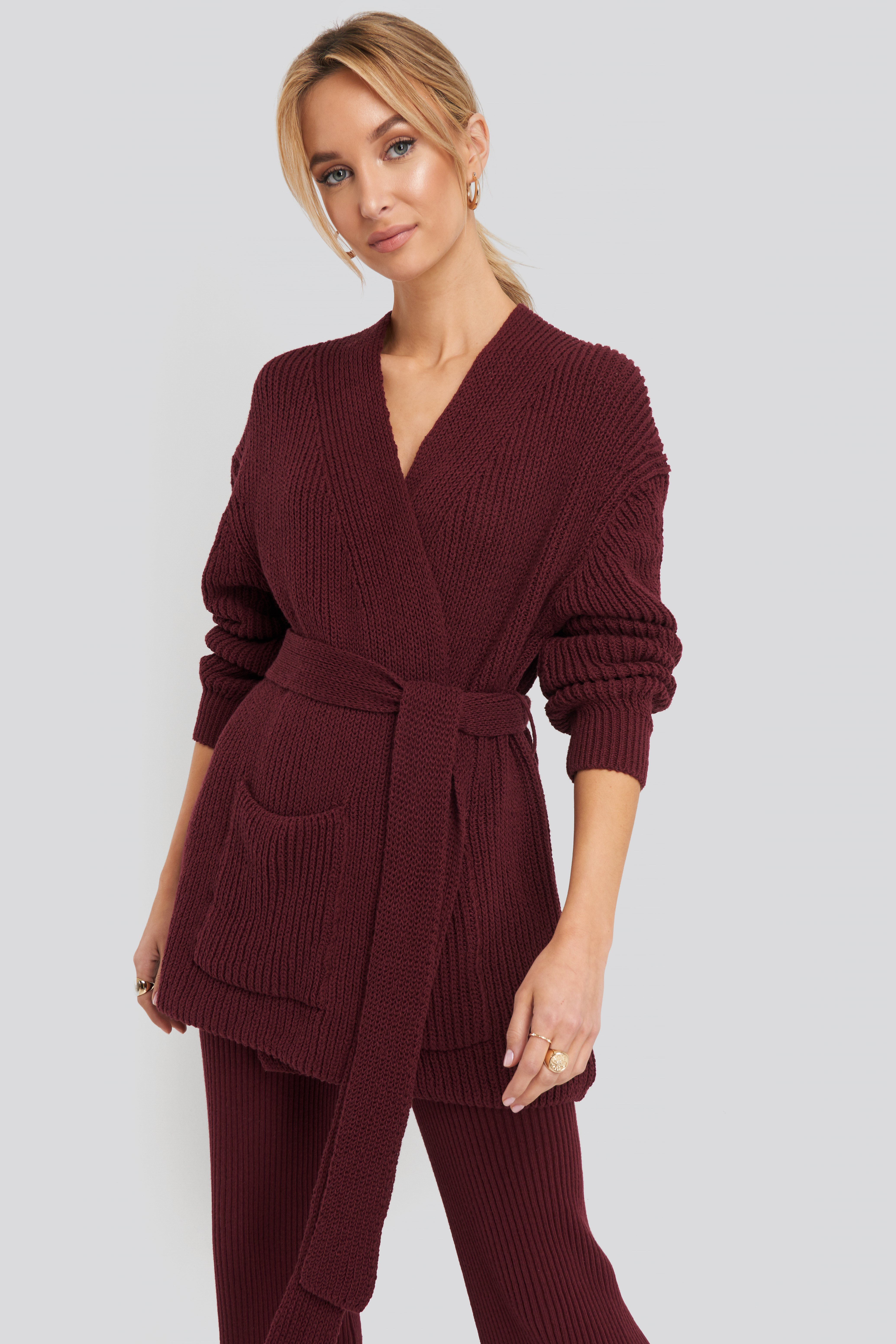 na-kd -  Recycled Belted Open Ribbed Cardigan - Red