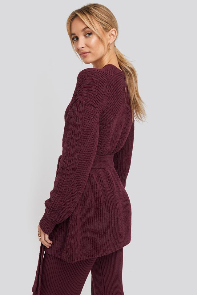 Recycled Belted Open Ribbed Cardigan Burgundy