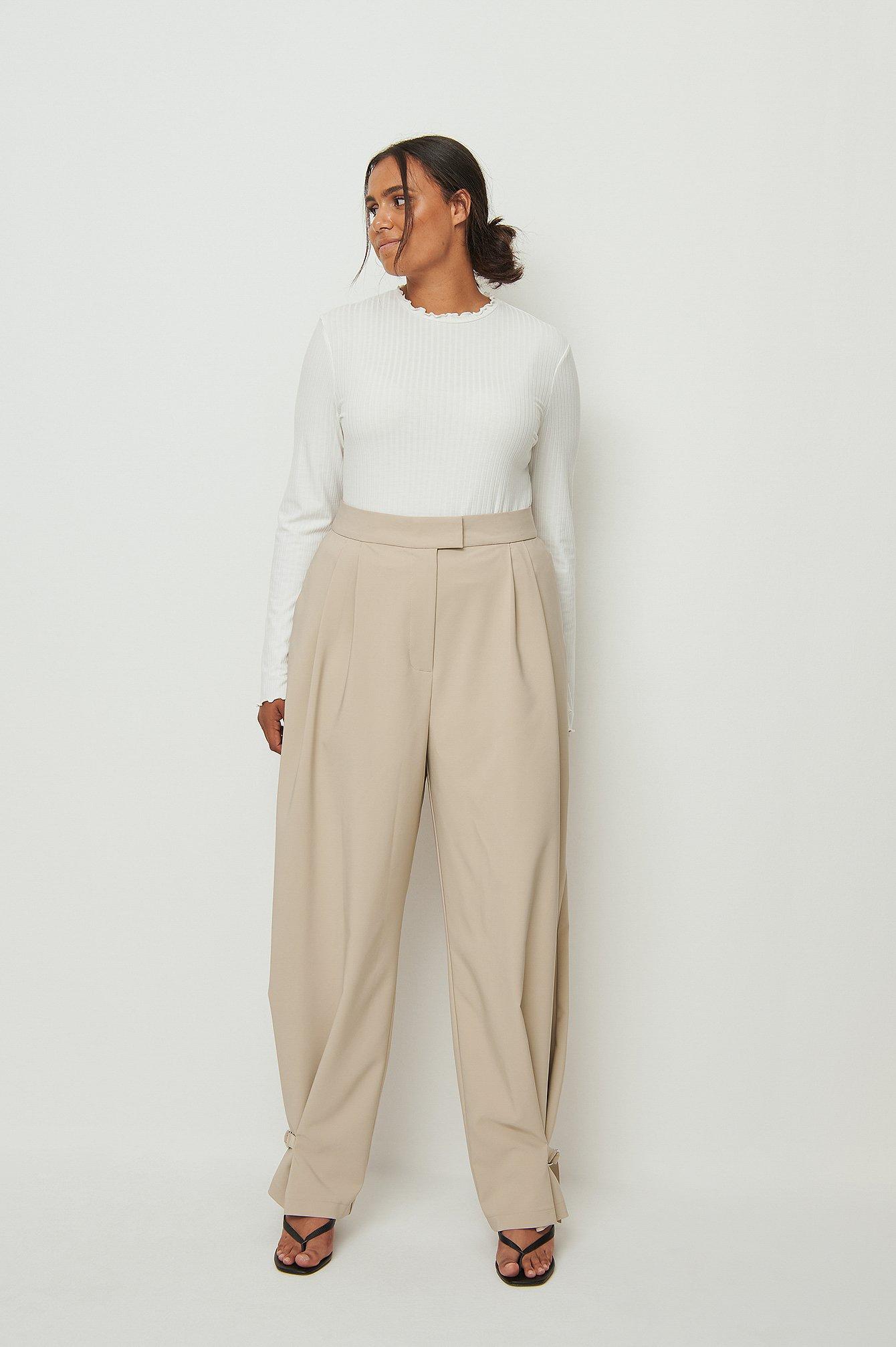 na-kd trend -  Anzughose Mit Schnallendetail - Beige